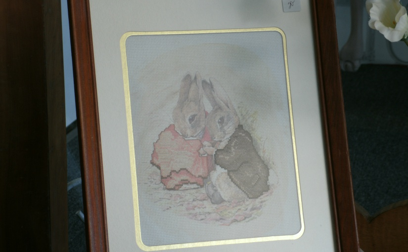 Fun Thrift Shop Find – Love these Quaint Little Beatrix Potter? Bunnies – Great Easter Picture . . .