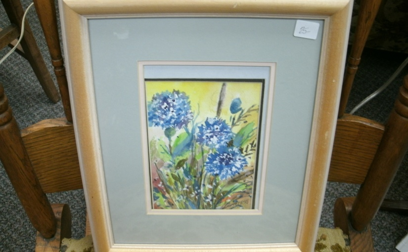 Bachelor Buttons Matted Within a Sky Blue Frame